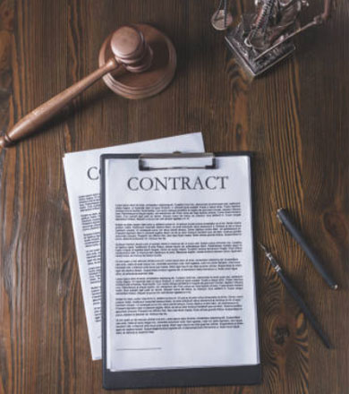Contracts on a table